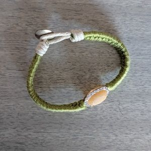 Green Braided Bracelet with Peach Gem